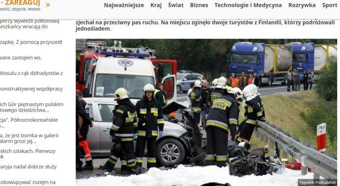 Suomalaispari kuollut liikenneonnettomuudessa Puolassa
